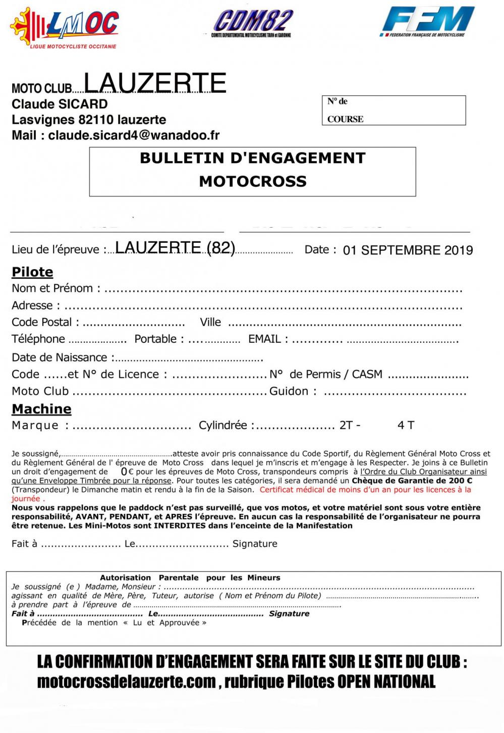 Bulletin d engagement 2019